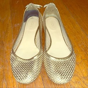 J. Crew gold leather ballet flats with bows size 6